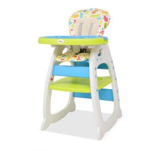 vidaXL Cadeira de refeição conversível 3 em 1 com mesa azul e verde