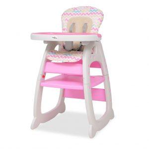 vidaXL Cadeira de refeição conversível 3 em 1 com mesa rosa