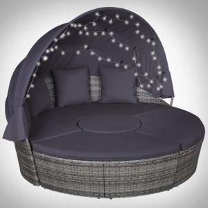 vidaXL Conjunto lounge jardim c/ almofadões LEDs 4 pcs vime PE cinza