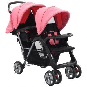 vidaXL Carrinho de bebé para gémeos aço cor-de-rosa e preto