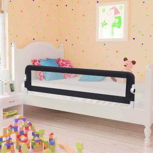 vidaXL Barra de segurança p/ cama infantil 150x42cm poliéster cinzento
