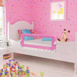 vidaXL Barra de segurança p/ cama infantil 120x42cm poliéster rosa