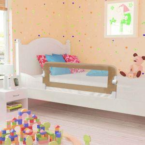 vidaXL Barra segur. cama infantil 120x42cm poliéster cinza-acastanhado