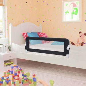 vidaXL Barra de segurança p/ cama infantil 120x42cm poliéster cinzento