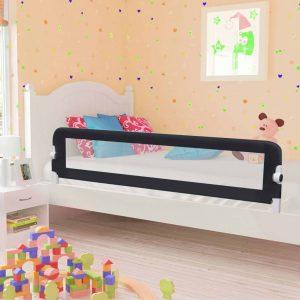 vidaXL Barra de segurança p/ cama infantil 180x42cm poliéster cinzento
