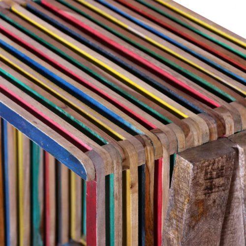 Armário TV com 3 prateleiras empilháveis, teca recuperada colorida