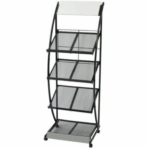 Porta-revistas A4 preto e branco 47x40x134 cm