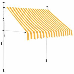 Toldo retrátil manual 150 cm riscas amarelas e brancas