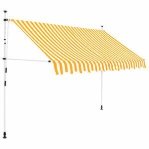 Toldo retrátil manual 300 cm riscas amarelas e brancas