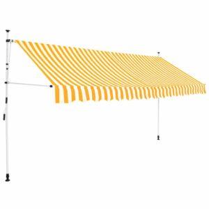 Toldo retrátil manual 400 cm riscas amarelas e brancas