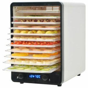 Desidratador de alimentos com 10 bandejas, 550W, branco