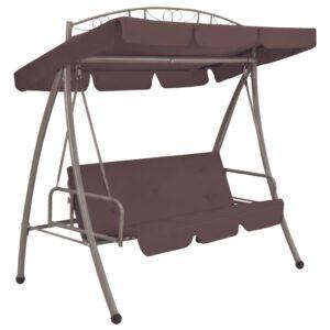 Cadeira de baloiço para jardim com toldo castanho café