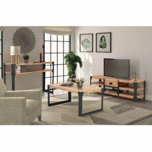 Conjunto de móveis de sala 3 pcs madeira de acácia maciça