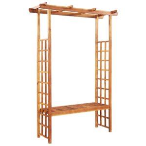Pérgola de jardim c/ banco madeira acácia maciça 143x50x198 cm