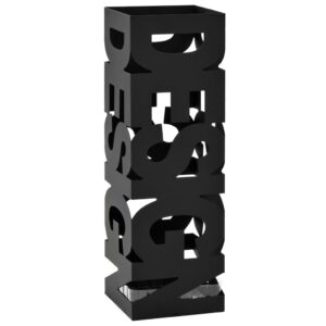 Suporte para guarda-chuvas design em aço preto