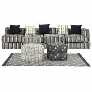 Conjunto de sofás modulares 16 pcs tecido às riscas