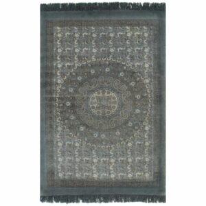Tapete Kilim em algodão 160×230 cm com padrão cinzento