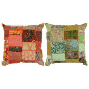 Almofadões de retalhos 2 pcs artesanal 45×45 cm laranja/verde