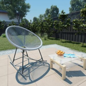 Cadeira de baloiço lua de jardim vime PE cinzento