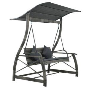 Cadeira de baloiçar p/ jardim vime PE cinzento 167x130x178 cm