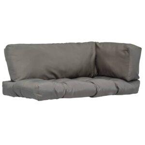 Almofadões para móveis de paletes 3 pcs poliéster cinzento