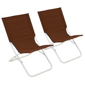 Cadeiras de praia dobráveis 2 pcs castanho