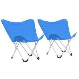 Cadeiras de campismo borboleta dobráveis 2 pcs azul