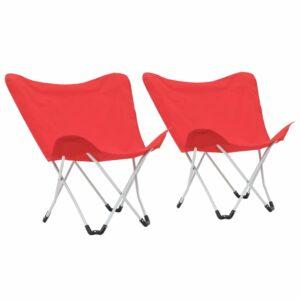 Cadeiras de campismo borboleta dobráveis 2 pcs vermelho