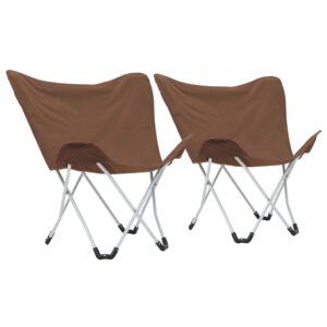 Cadeiras de campismo borboleta dobráveis 2 pcs castanho