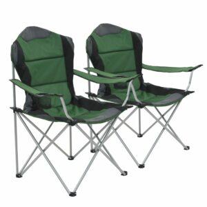 Cadeiras de campismo dobráveis 2 pcs 96x60x102 cm verde