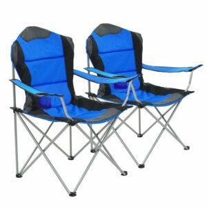 Cadeiras de campismo dobráveis 2 pcs 96x60x102 cm azul
