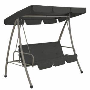 Cadeira baloiço jardim com toldo 192x118x175 cm aço antracite
