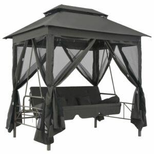 Cadeira baloiço jardim com toldo 220x160x240 cm aço antracite