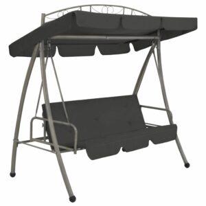 Cadeira baloiço jardim com toldo 198x120x205 cm aço antracite