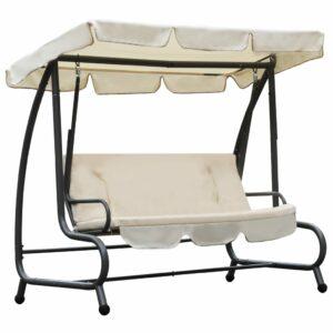 Cadeira de baloiço para exterior com toldo branco areia