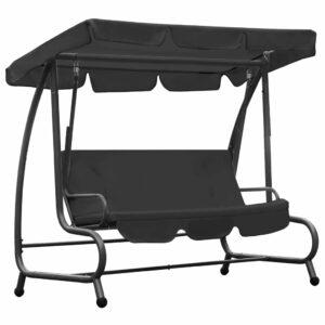 Cadeira de baloiço para exterior com toldo antracite