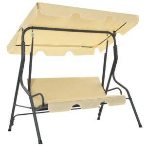Cadeira de baloiço para jardim 170x110x153 cm branco nata