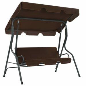 Cadeira de baloiço para jardim 170x110x153 cm castanho café