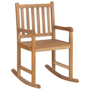 Cadeira de baloiço 58×92,5×106 cm madeira teca maciça castanho