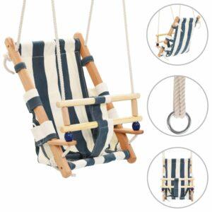 vidaXL Baloiço para bebé com cinto segurança em algodão madeira azul