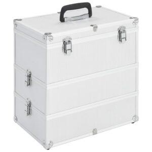Caixa de maquilhagem 37x24x40 cm alumínio prateado