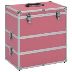 Caixa de maquilhagem 37x24x40 cm alumínio cor-de-rosa