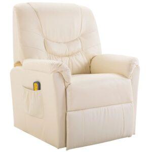 Cadeira de massagem elétrica em couro artificial, creme