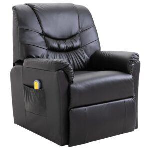 Cadeira de massagem elétrica em couro artificial, preto