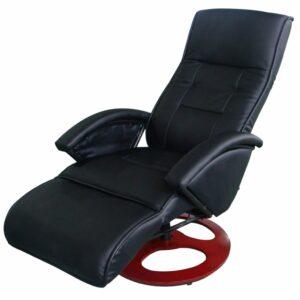Cadeira de massagem elétrica em couro artificial preto