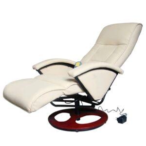 Cadeira de massagem elétrica couro artificial branco nata