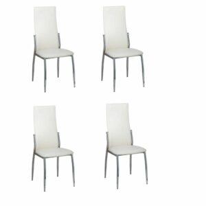 Cadeiras de jantar 4 pcs couro artificial branco