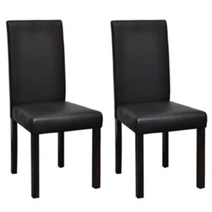 Cadeiras de jantar 2 pcs couro artificial preto