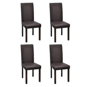 Cadeiras de jantar 4 pcs couro artificial castanho