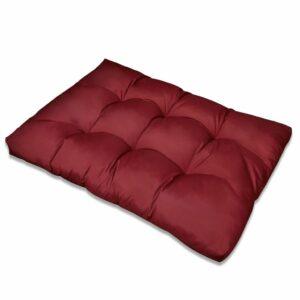 Almofada do assento estofado vermelho 120 x 80 x 10 cm